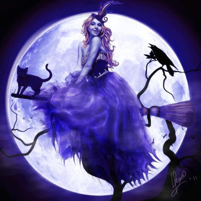 Purple Witch Against The Full Moon