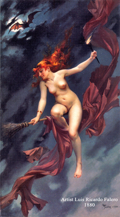 Witch Naked On Broom With Bat